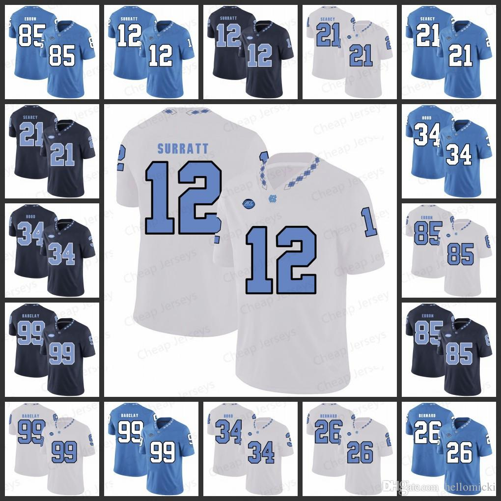 newest 23333 a532d Mens North Carolina Jerseys 12 Chazz Surratt 21 Da Norris Searcy 34 Elijah  Hood 85 Eric Ebron George Barclay All stitched College Jersey