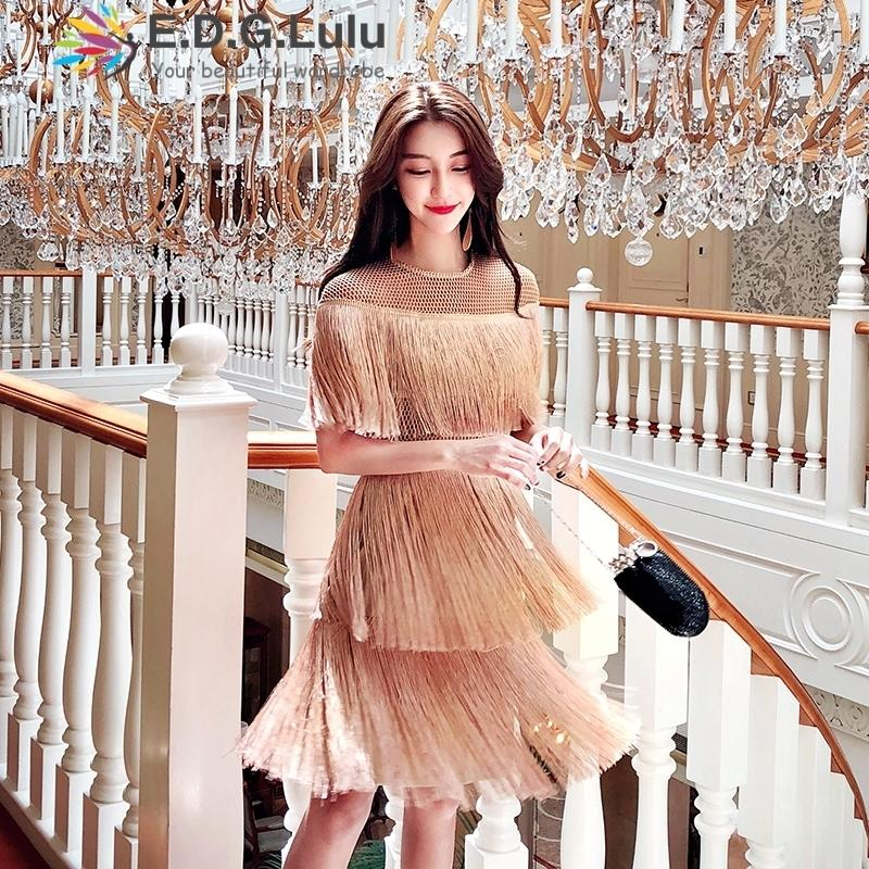 5902e9643434 2019 Fringe Dress Vintage Elegant Sexy Party Club Wear Beach Mesh ...