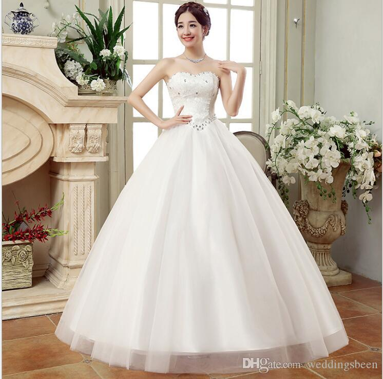 76ab922f7 Vestido de novia flor nueva top de tubo de boda blanco por la puerta  vendaje vestido de novia princesa
