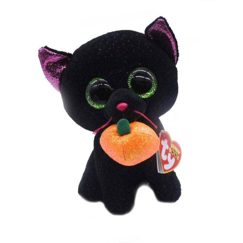 "Ty Beanie Boos Big Eyes 6"" 15cm Cute Cat with Pumpkin Plush Animal Stuffed Dolls Toys"
