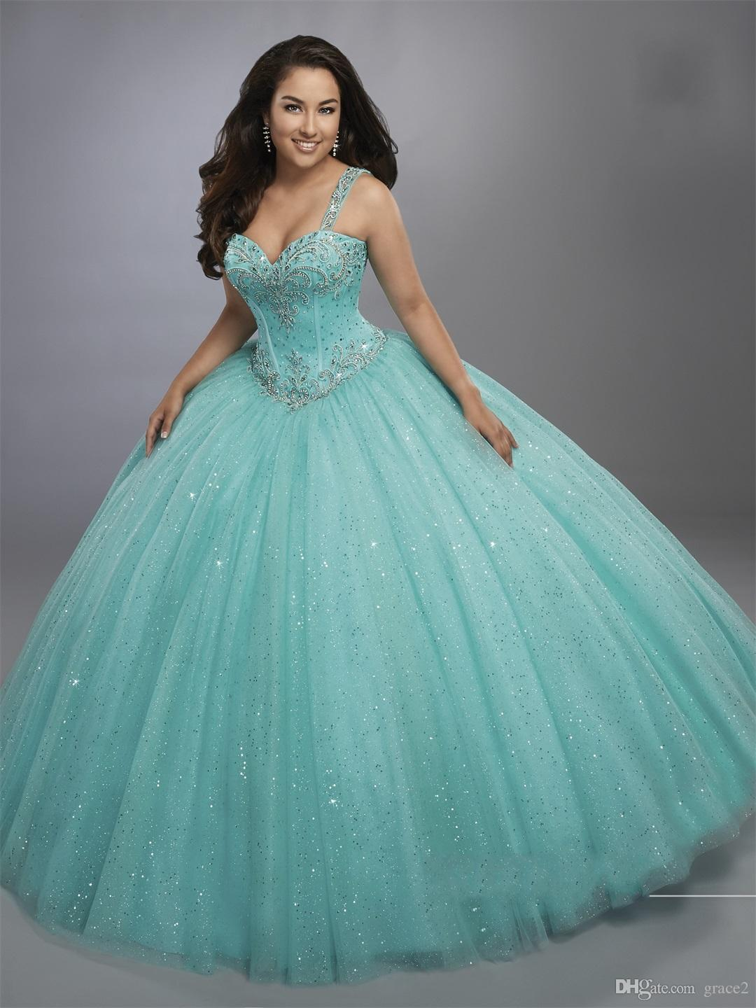 Aqua Sage Ball Gown Quinceanera Dresses with Bolero Basque Waistline Bling Bling Sweet 16 Puffy Dress Exposed Boning Sparkling