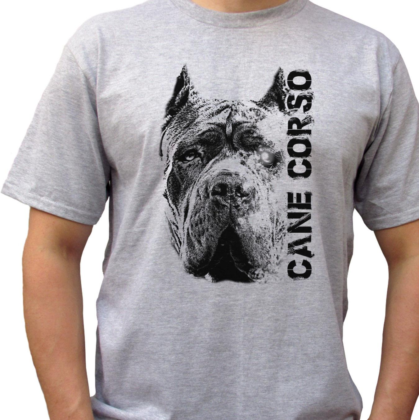 Compre Cane Corso Head Camiseta Gris Top Tee Dog Design Mens Tamaños