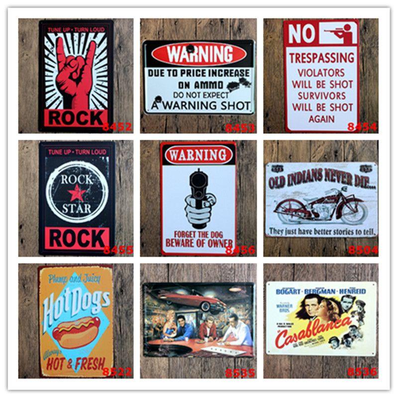 Rock Warning Hot Dog Motorcycle Vintage Metal Poster Bar Home Garage Gas  Station Pub Cafe Hotel Living Room Bakery Decor Wall Art Poster