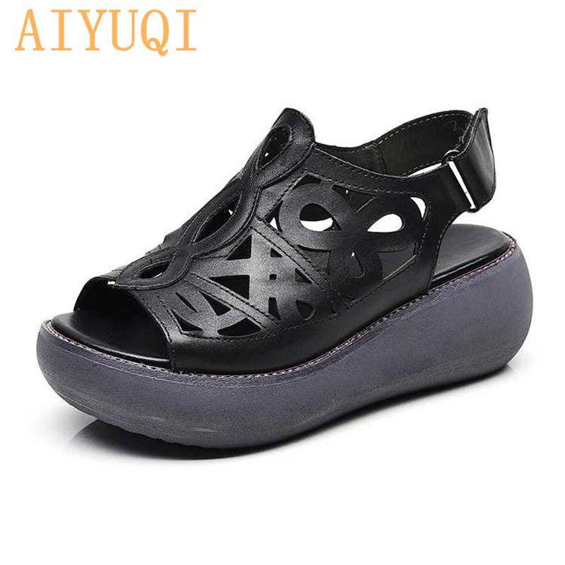 8c3d08375f819 AIYUQI Women sandals Retro 2019 new genuine leather women sandals, summer  platform flat shoes ,natural cowhide sandal
