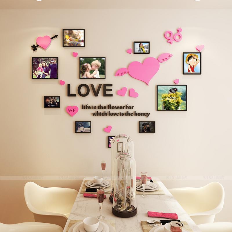 Acheter Cadre Photo Acrylique 3D Sticker Mural Salle De Mariage Romantique  AMOUR DIY Art Décoration Murale Salon Chambre Décoration De $21.33 Du Jasm  ...