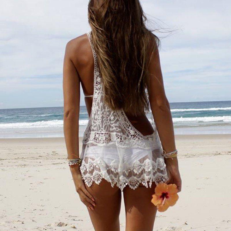 ffb6c3926f Sexy Women Lace Crochet Bikini Cover Up Swimwear V Neck Bathing Suit Beach  Dress Bikini Cover-Up Ladies Dress Bikini Online with $13.72/Piece on ...