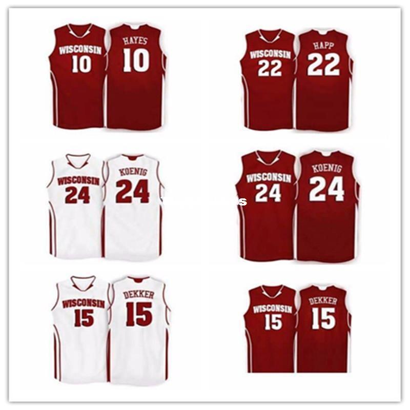 purchase cheap 6cb36 1f539 Cheap Wisconsin Badgers College # 24 Bronson Koenig retro #22 Ethan Happ  jersey #15 Sam Dekker jersey custom any size name and number
