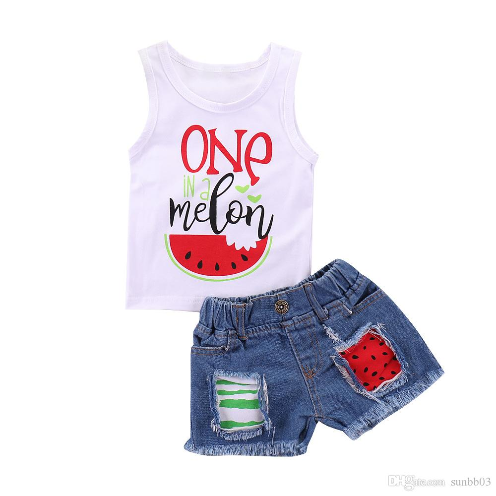 Ins Summer Baby Girls Set Kids Letters Vest Tops + Jeans Shorts 2pcs Set Children Outfits 14786