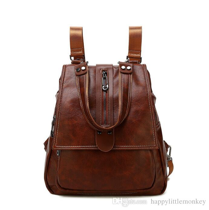 High-end Retro Soft Leather Ladies Backpack 2018 New Korean Fashion ... bf8a37ac8afce