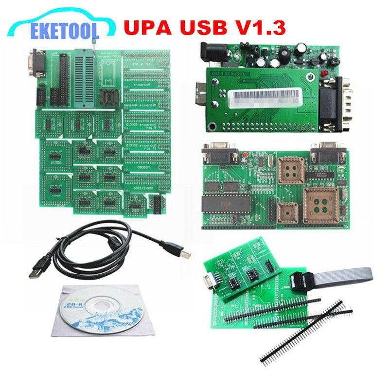Newest UPA USB Serial Programmer V1 3 Green Adapter Full Sets Auto ECU Chip  Tuning UUPROG EEPROM V1 3 0 14 R2 OBD2 ECU Adapters
