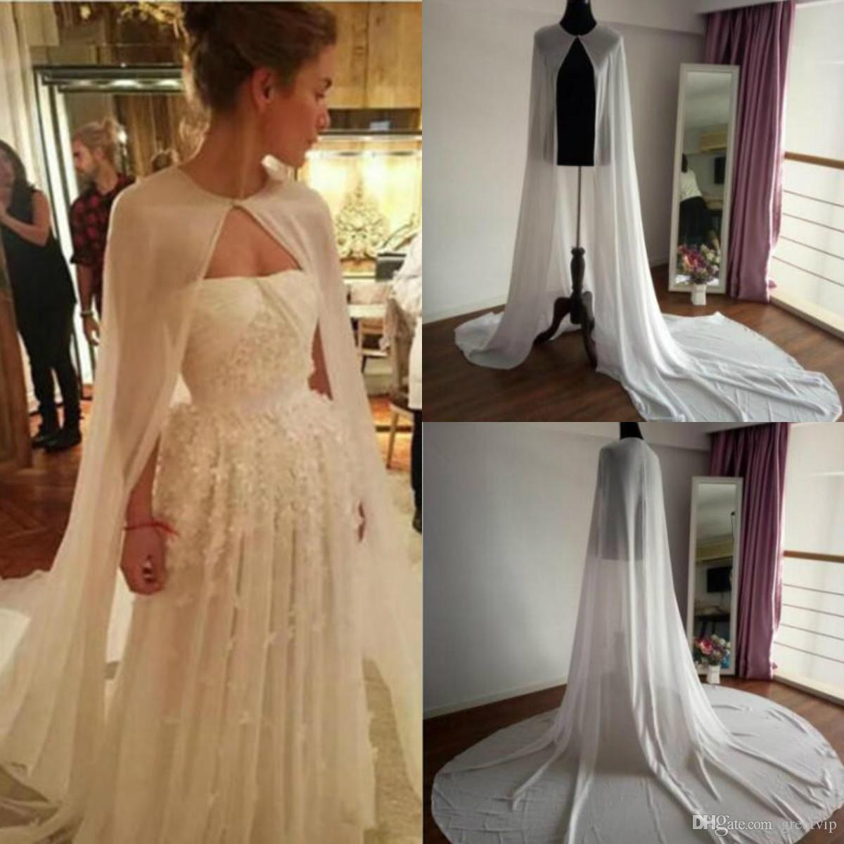 4867124a061 2019 Long Chiffon Wedding Capes Jackets Boleros White Ivory Women Bridal  Accessories Brides Cloaks Mantles Bridal Wraps Shawls From Greatvip