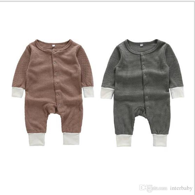 c29dcf1530c Kids Designer Clothes Boy Girls Solid Colors Rompers Cotton Long Sleeve  Jumpsuits Newborn Onesies Toddler Bodysuits Christmas Gifts YL950 Baby Knit  Romper ...