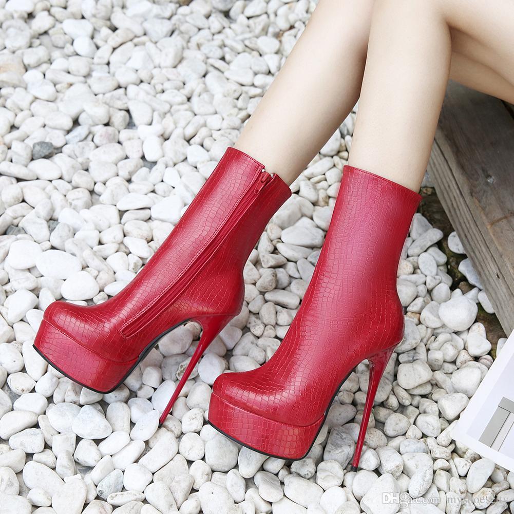 Artı boyutu 36 40 41 42 43 44 45 46 Seksi Fermuar Stiletto topuk Platformu Bilek Boots Nightclub Tasarımcı Ayakkabı için