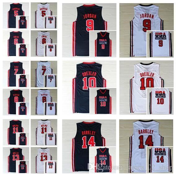 best service 9d20f 637e5 1992 Dream Team Jerseys Cheap 7 Larry Bird 6 Patrick Ewing 13 Chris Mullin  8 Scottie Pippen 10 Clyde Drexler 11 Karl Malone 15 Johnson USA