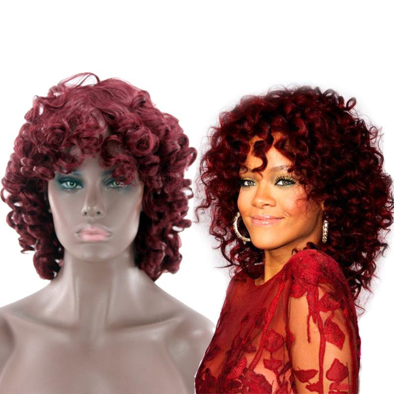 Wig hairpin explosion head set African wig red, European and American wig short hair