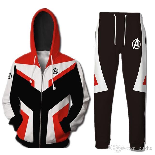 e876d110f0 Compre Vingadores Endgame Quantum Realm Hoodies Casaco Calças Casuais  Superhero Moletom Cosplay Traje De Ouzhe