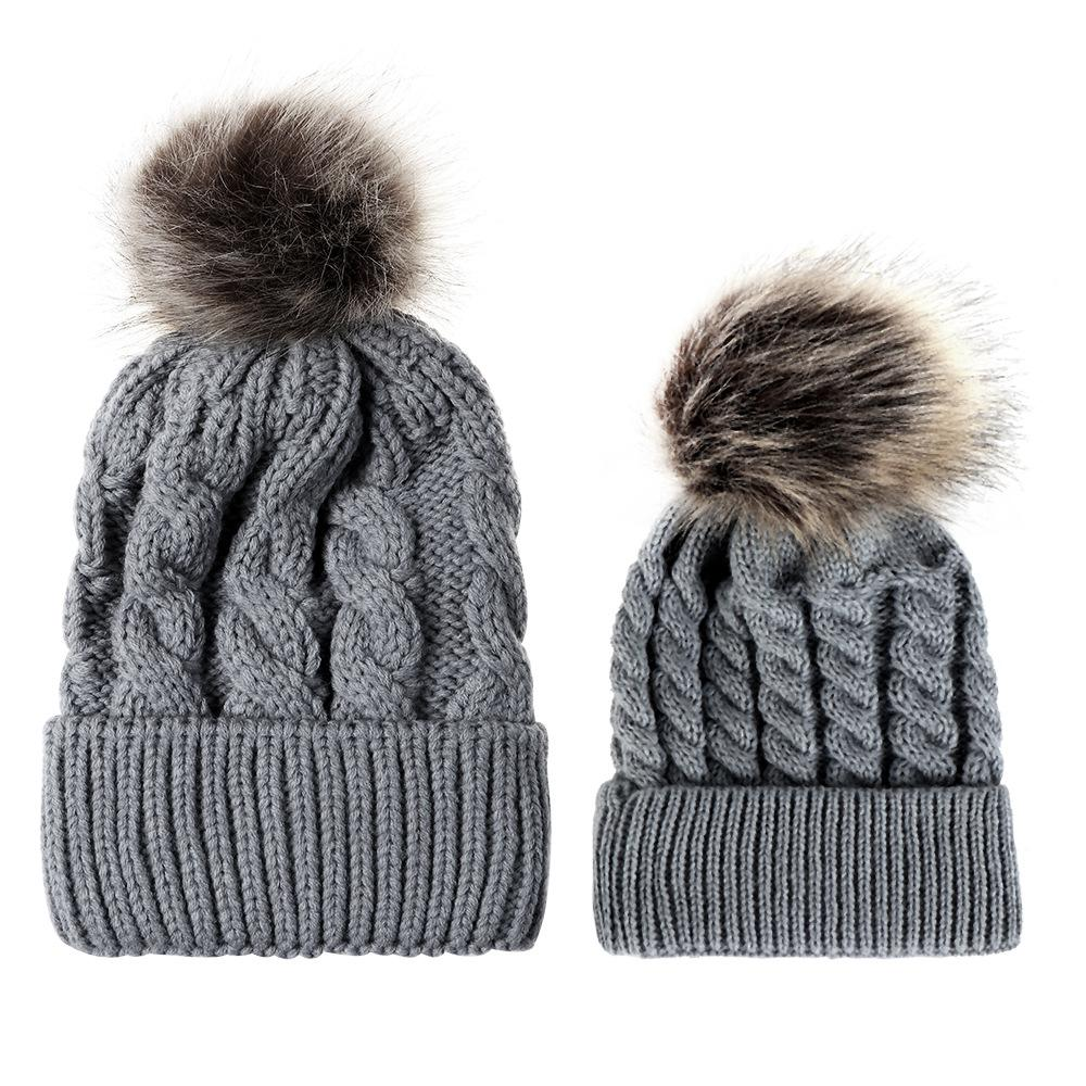 2018 New Fashion Mommy And Me Winter Warm Hats Baby Boys Girls Hats Crochet  Knit Hairball Beanie Caps Beard Beanie Beanie Kids From Clintcapela 6fbe9af1710