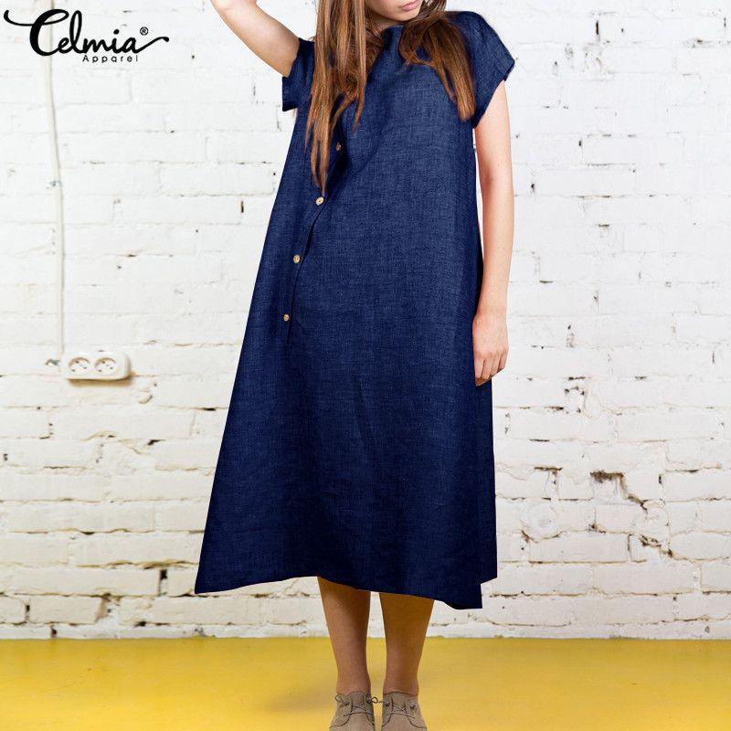 e3d8ff15bc899 Celmia Summer Dress 2019 Women Vintage Buttons Down Plus Size Dresses  Ladies Short Sleeve Casual Female Midi Vestidos Robe 5XL