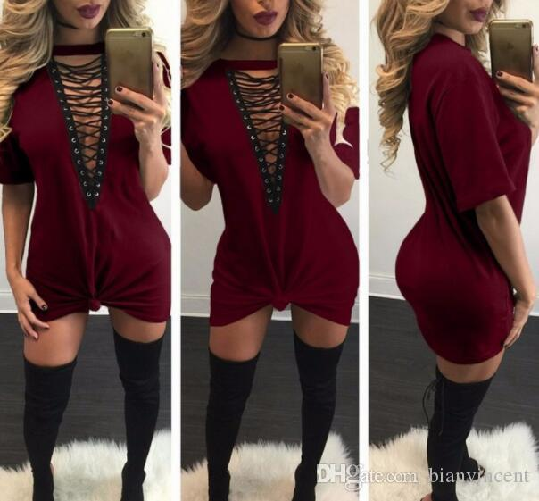 2b9aefaefb3f2 2019 Hot Selling Dresses for Women girl black white Clothes Fashion Long  Sleeve Autumn Casual Loose V Neck T-Shirt Plus Size Dress