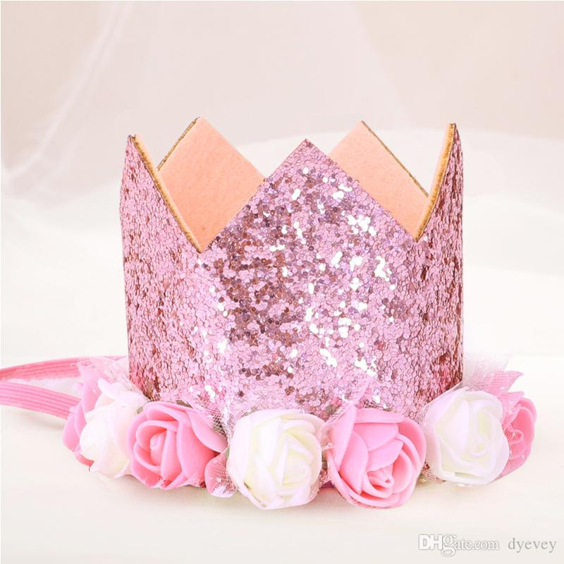 Baby Princess Tiara Crown, Baby Girls / Kids First Birthday Hat Estilo Sparkle Gold Flower con Artificial Rose Flower