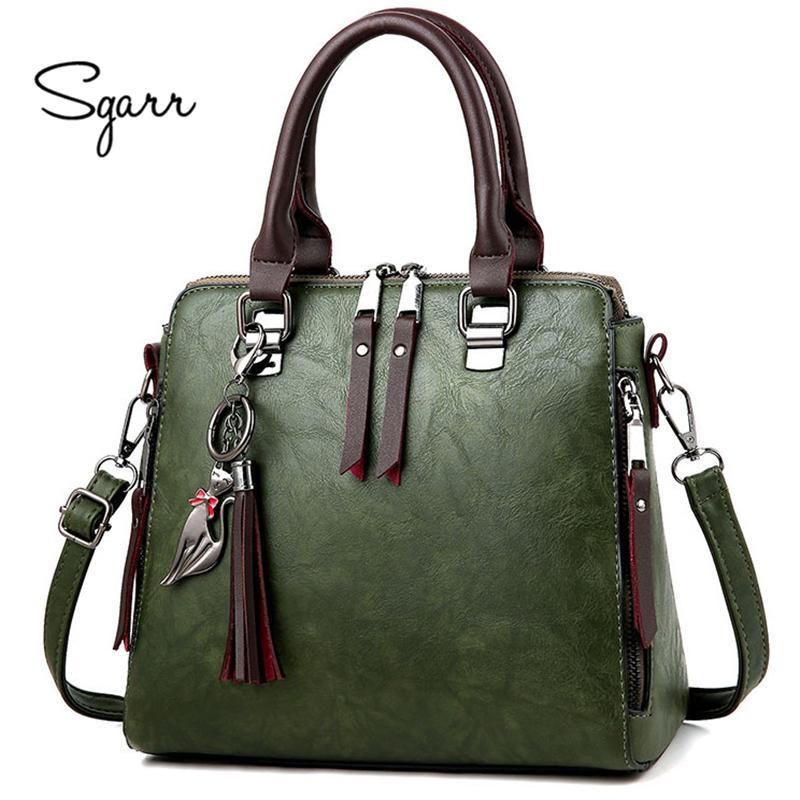 Sgarr Soft Leather Handbags Women Famous Brands Luxury Bag Designer Quality  Casual Lady Messenger Bag Female Large Shoulder Bags Y190124 Purses Designer  ... 9055bcc2dd