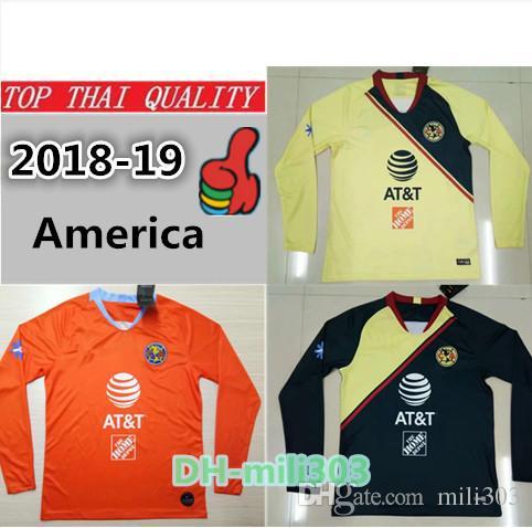 official photos 56db5 eec23 Top Thai Quality 2018 19 Mexico LIGA MX Club America Long Sleeve Soccer  Jerseys 3rd Orange P AGUILAR O PERALTA #24 WILLIAM football Shirt