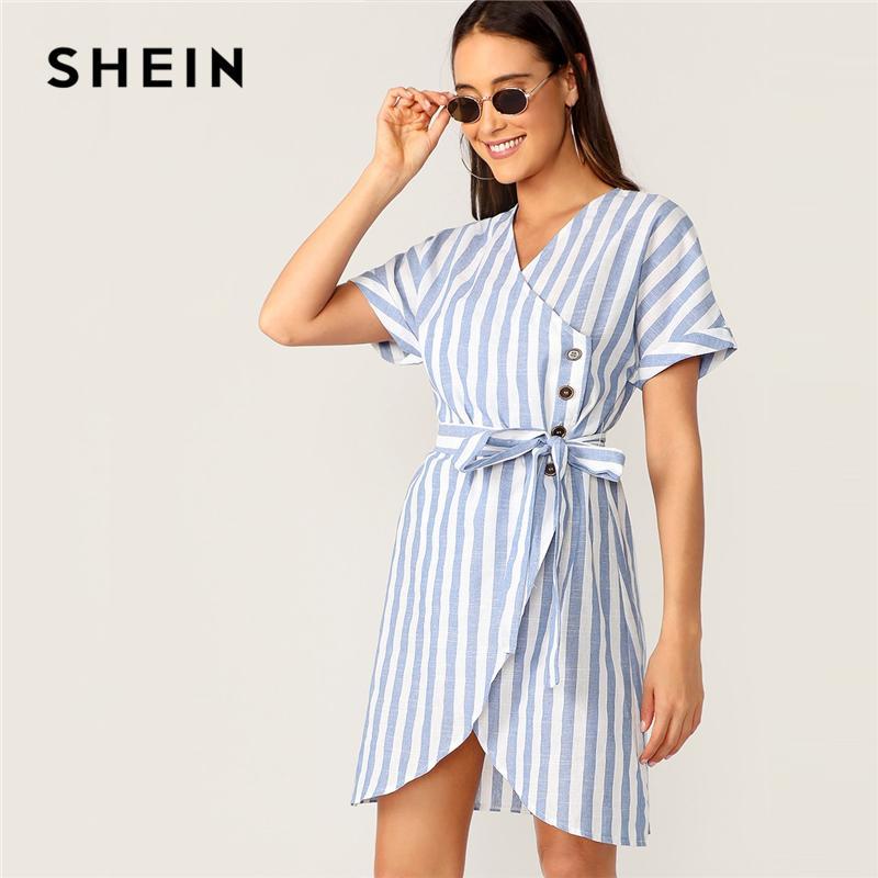 7f5f88d858 2019 SHEIN Boho Blue Buttoned Wrap Front V Neck Belted Striped ...