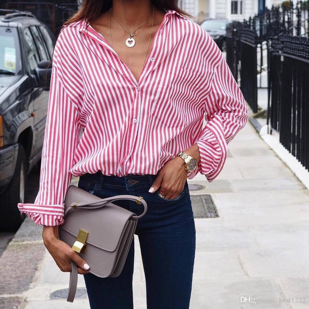 a1eea4e696cb3 Women Striped Long Sleeve Blouse Shirt Female Loose Blusas Femme ...