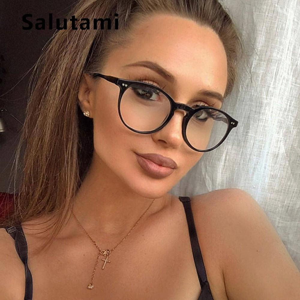 Rivet Eyeglasses Women 2019 New Brand Round Clear Lens Glasses