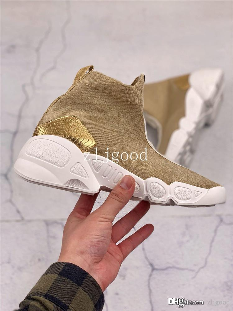 2019 Top Women's fashion Fusion perforated knit high-top sneakers cotton soft and comfortable and breathable Size 35-39