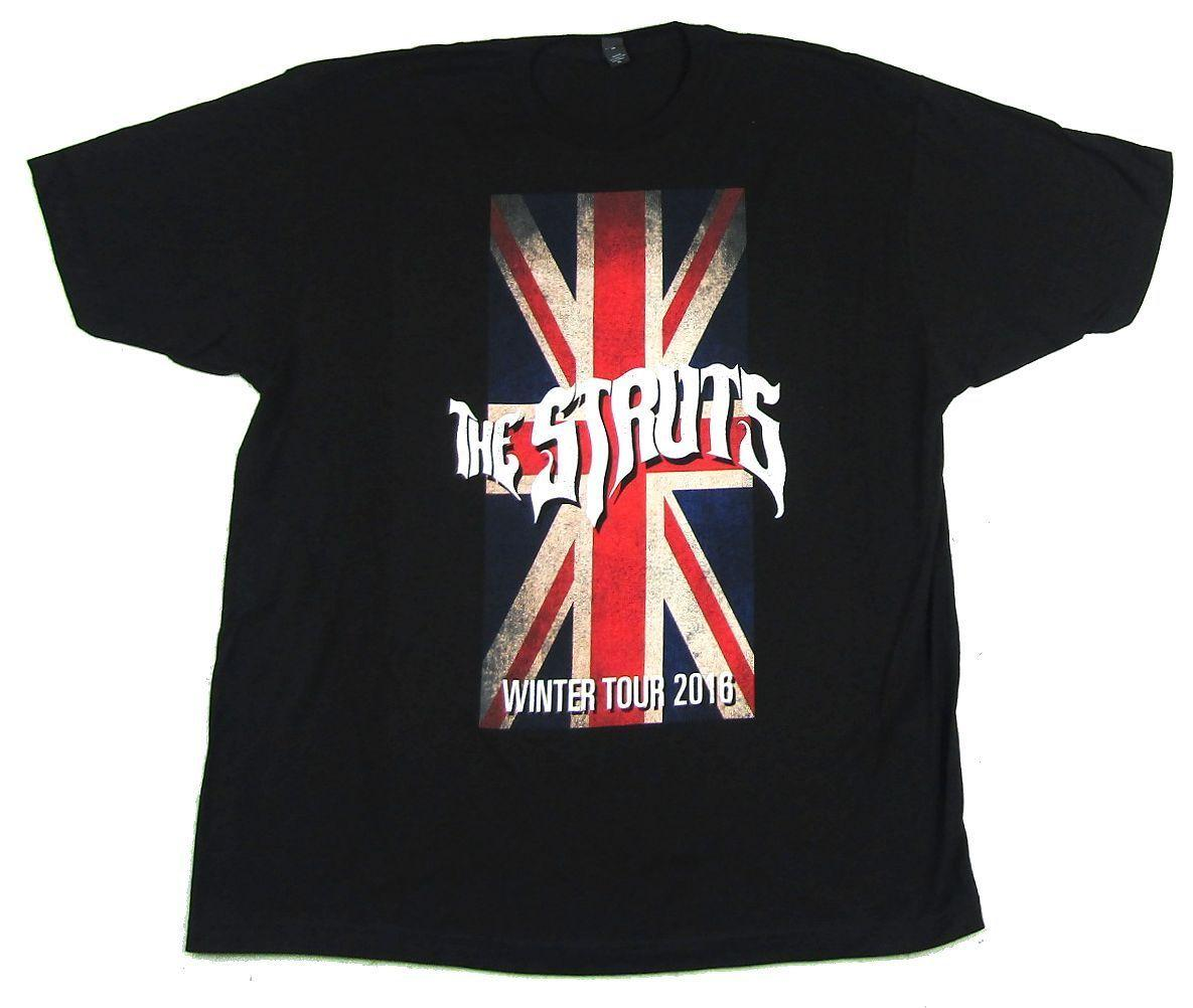 The Struts Distressed Flag Logo 2016 Tour Negro T Shirt Nueva banda oficial Merch Divertido envío gratis Unisex Casual regalo