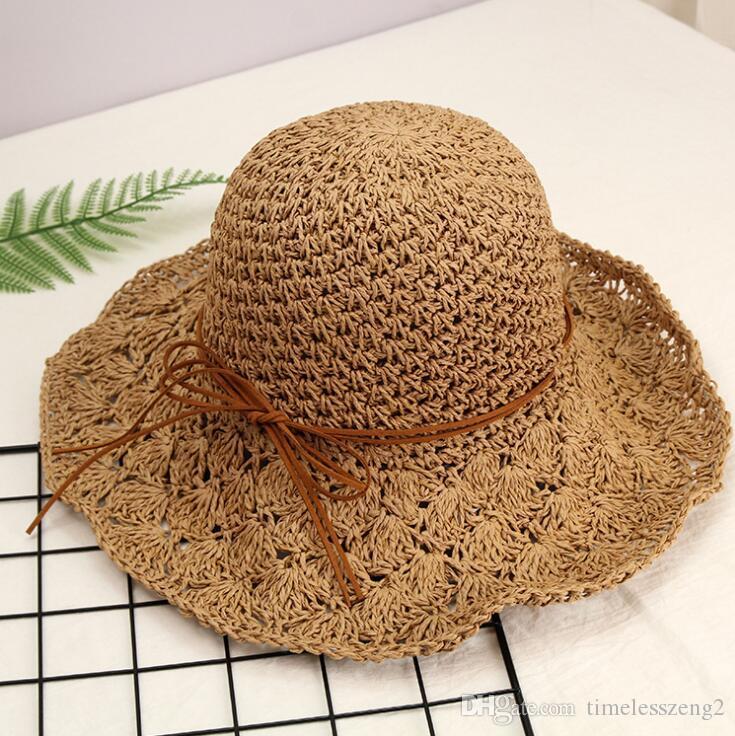 14 Designs Women Straw Hats With Bow-knot Handmade Sun Hat Snapback Fashion Folding Gorras Wide Brim Hats Sun Bonnet