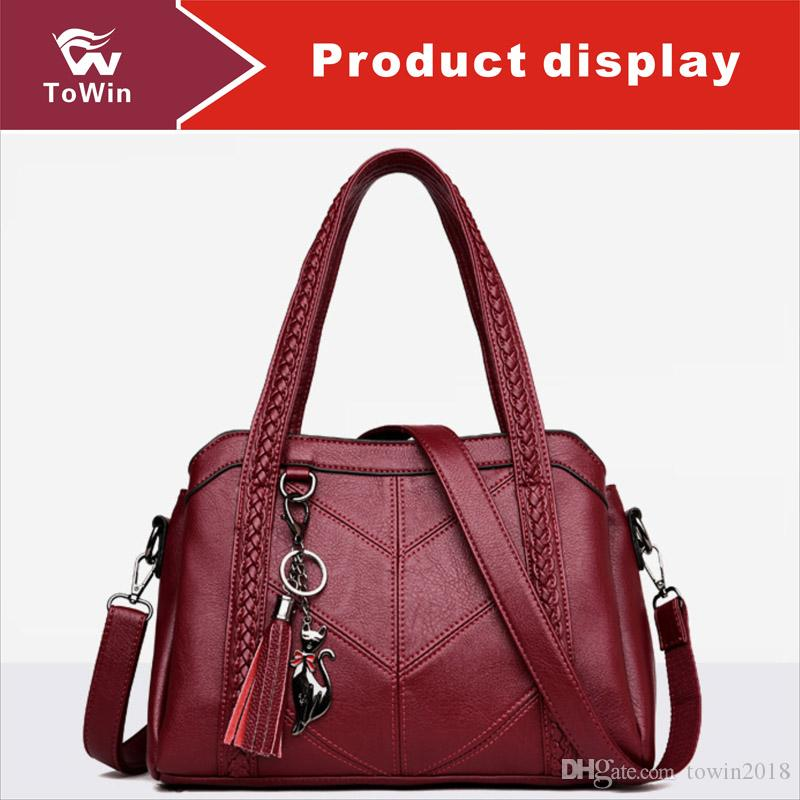 Brand New Handbag High Quality PU Leather Single Shoulder Bag Casual Outdoor Portable Tassel Boston Bags Tote Wallet Free Shipping Wholesale