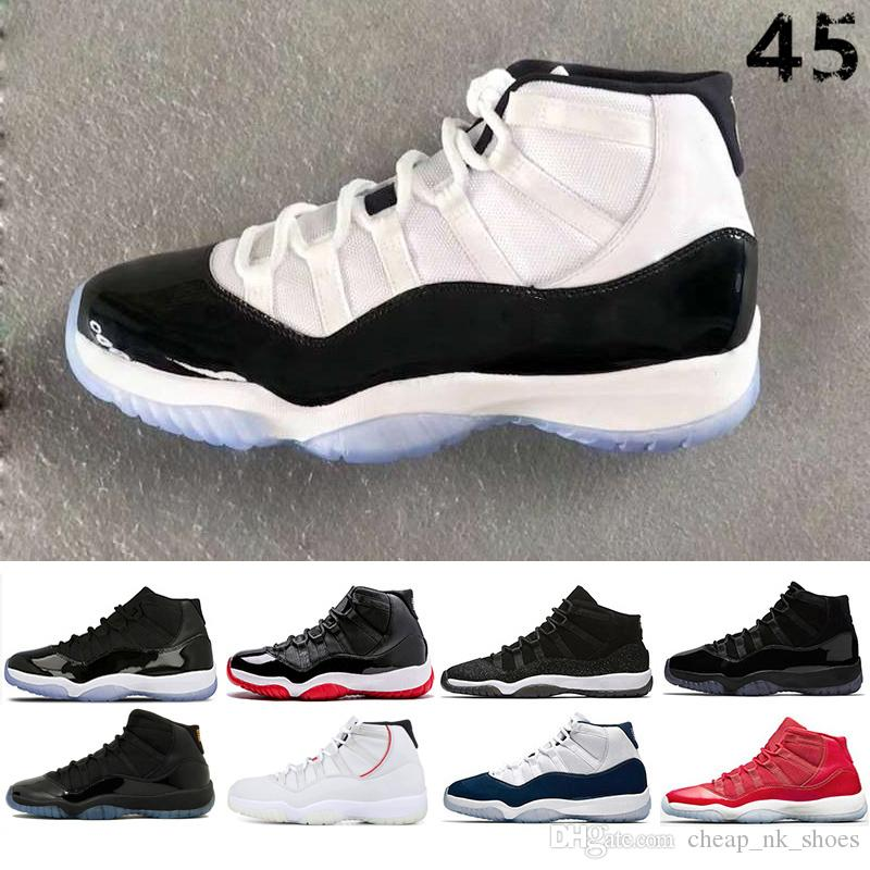 new concept e3d16 751be Compre Nike Air Jordan 11s 11 Prom Night Cap And Gown Concord 45 Zapatos De  Baloncesto Para Mujeres De Hombres Criados Sneaker Gym Rojo Midnight Navy  ...