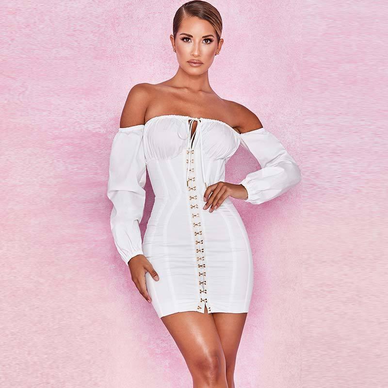 3e5d13d95 Compre Roupas Femininas Saia Varejistas Online Uma Palavra Collar Frenulum  Vestido C19031801 De Linmei0005