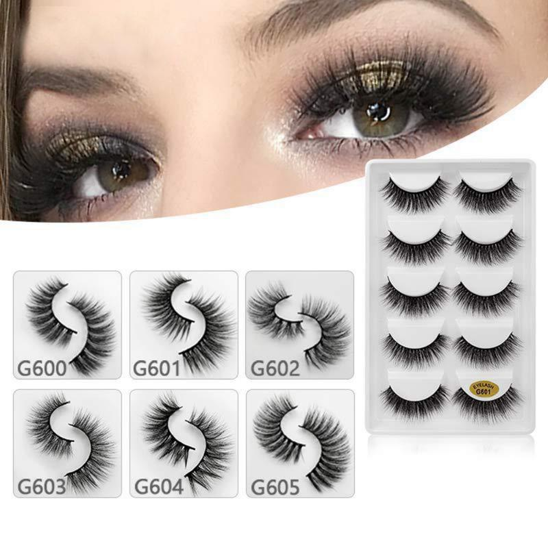 5 pairs long natural false eyelashes fake lashes makeup 3d mink lashes eyelash extension mink eyelashes easy to wear