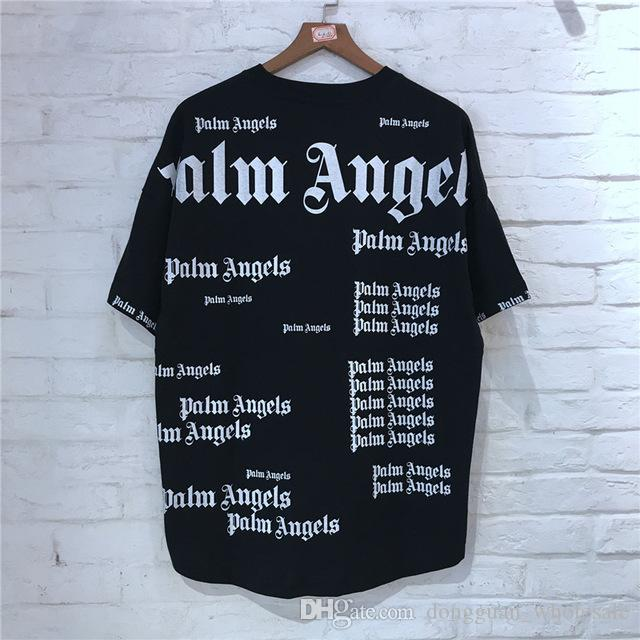206f222a Palm Angels Oversize T Shirt Wen Women 1p:1 High Quality Patchwork Full  Printing Top Tees Fashion 2019 Cotton Palm Angels T Shirt Mens Tee Shirts  Rude T ...