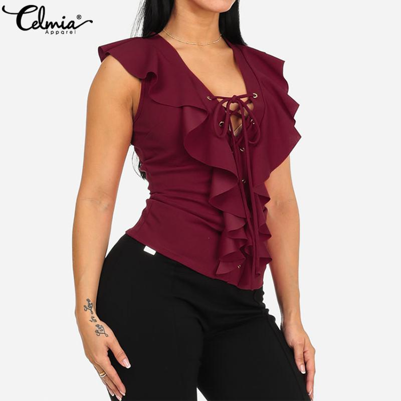 Celmia 2019 Fahion Women Blouses Sexy V Neck Lace Up Sleeveless Summer Tops Plus Size Ruffles Shirts Solid Casual Slim Blusas 7