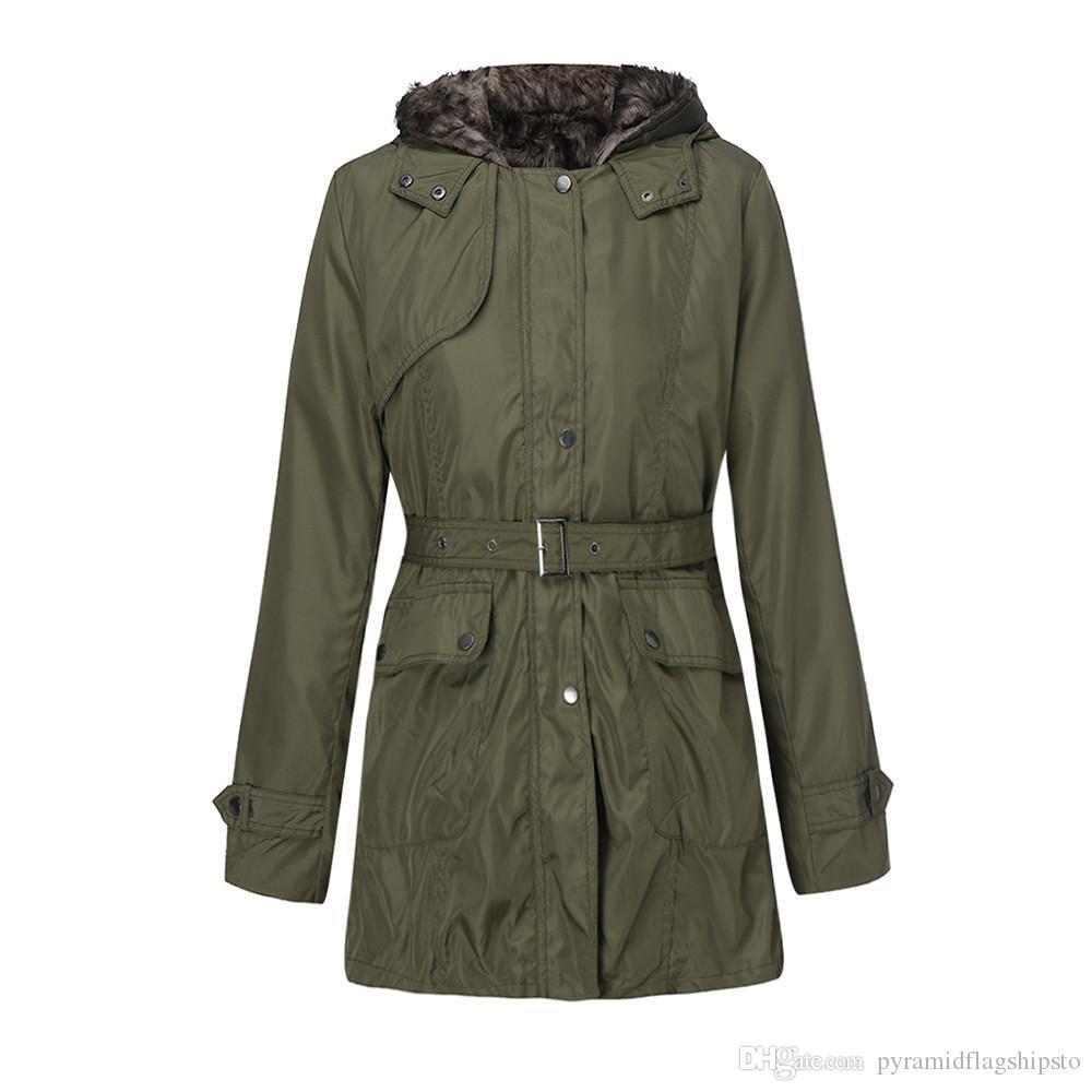 half off 063dd effe1 Pelzfutter Mantel Damen Winter warme dicke lange Jacke mit Kapuze Parka  warme Wolle Reißverschluss Mantel Baumwolle Mäntel Outwear abrigo mujer