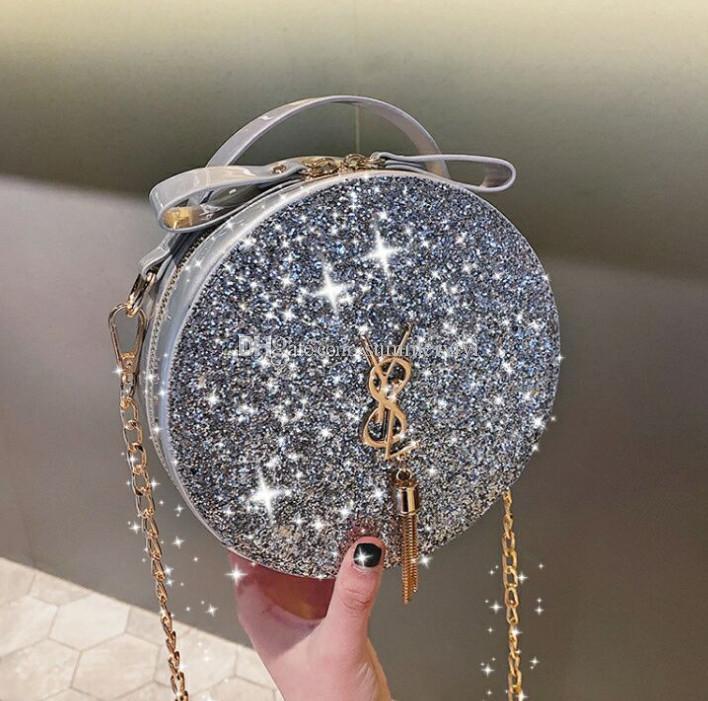 7900170338 Lady style children bag shining kids sequins princess bag girls metal  letter tassel single soulder bag child birthday party handbag F5617