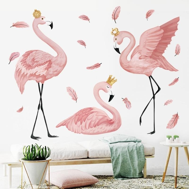 The Flamingo Queen Stickers For Living Bedroom Kids Room Nursery Wall Decor Art Murals Baseboard Vinyl Decals Q190610