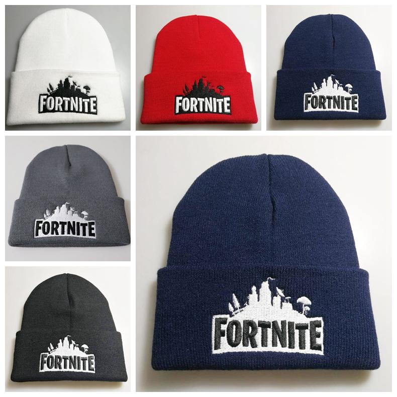 a84ab288e91fc 2019 Fortnite Battle Knitted Hat Hip Hop Embroidery Knitted Costume Cap  Winter Soft Warm Skuilles Beanies Big Kids Hats From Lol doll
