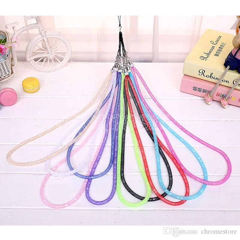 Bling Luxury Fishing net lanyard Artificial Crystal Necklace Straps U Disk ID Work Card Cell Phone Chain Colorful Mobile Bag Hang Rope