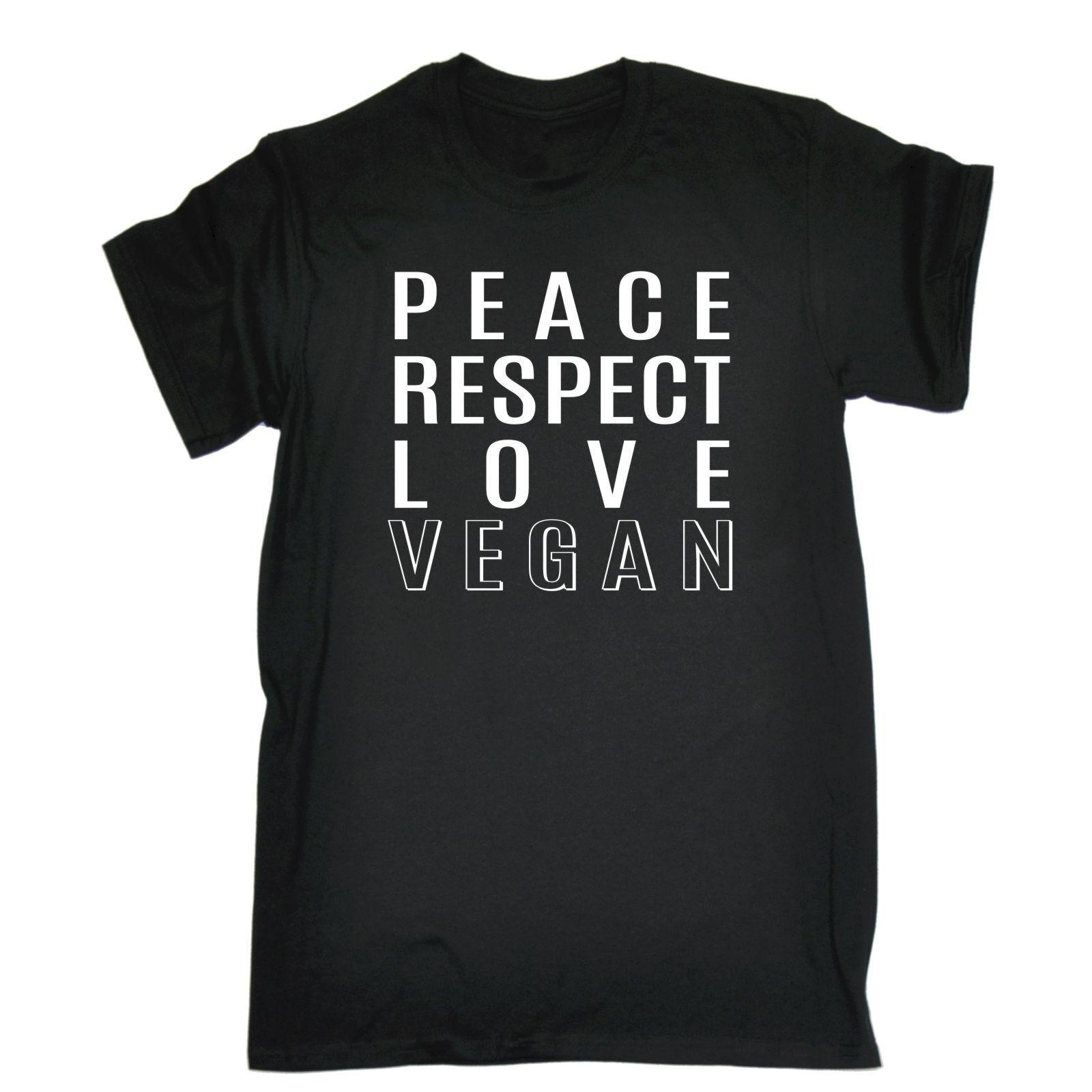 Peace Respect Love Vegan T SHIRT Vegetarian Hippie Funny Gift Birthday New Tee Print Printed Fashionable Round Shirt Best Tshirts From