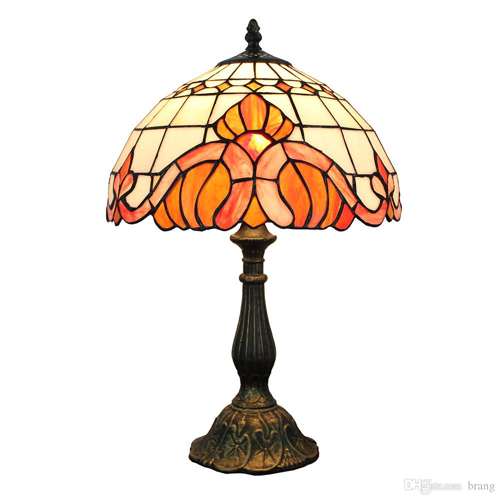 12 inch stained Glass Baroque Table Lamp Bedside Desk Light Leaded Glass