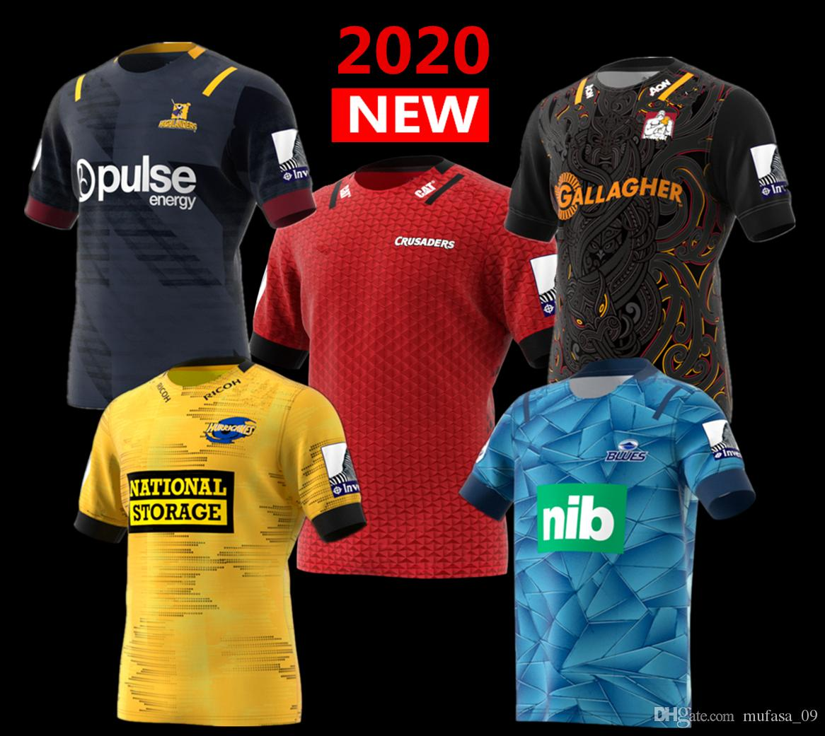 Nouvelle-Zélande Super Rugby Jersey 2020 Highlanders Crusaders maison Jersey Hurricanes bleus Rugby Jersey chemise grande taille-s 5xl