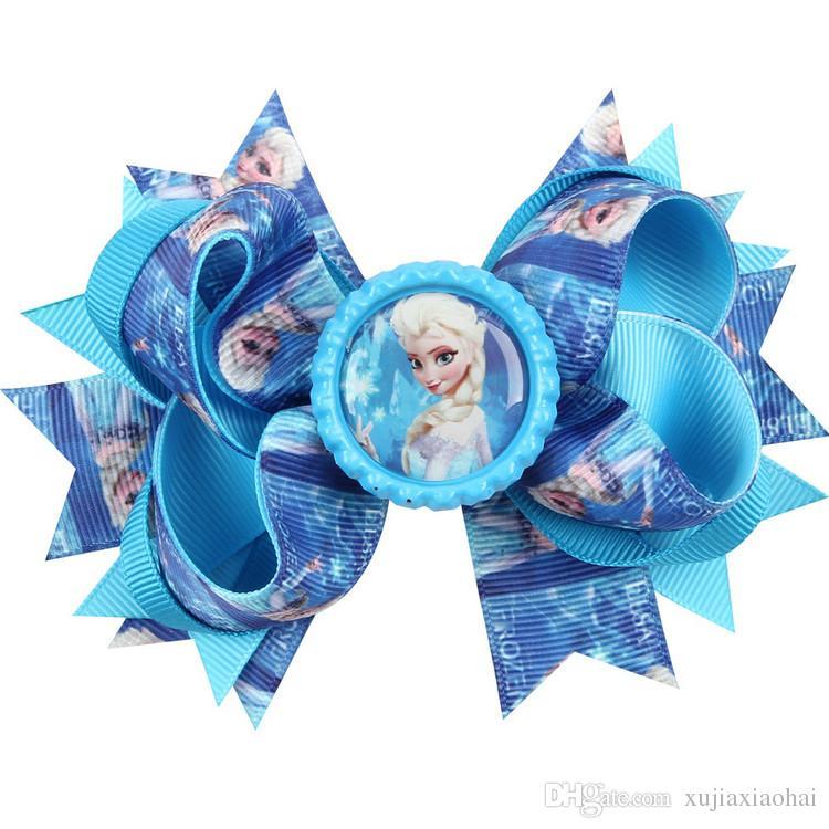 4.5 inchs 10 Styles Cartoon Anna printing ribbed ribbon knotbows bobby pin children hairpins creative hair accessories