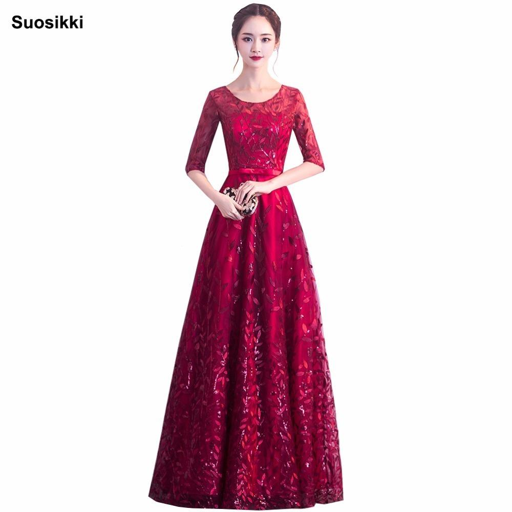63ac44a8920 2019 Suosikki Elegant O Neck A Line Embroidery Lace Evening Dress Cheap Prom  Dresses Robe De Soiree Party Dress With Half Sleeves Y19042701 From  Huang03