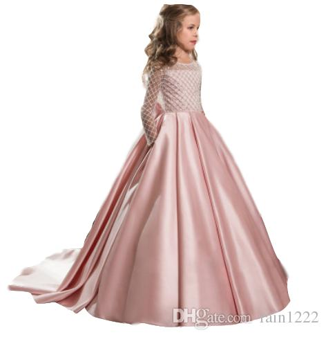 Girls Party Formal Full Dresses Wedding Bridesmaid Bra Dress With Bow Princess Special Occasion Floor-Length Dresses For Ball Gown Clothing