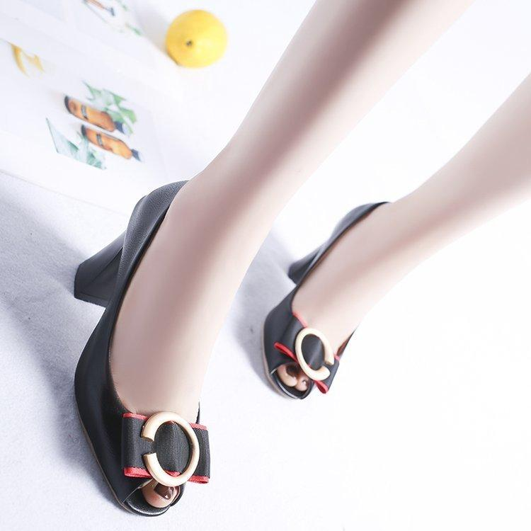 Designer Dress Shoes Women Pumps 2019 New Fashion Square Buckle Women tacco alto con spessa testa di pesce